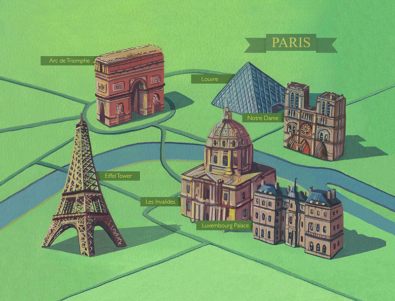 Haydn Symons Illustration Map of paris – Attraction Map of Paris