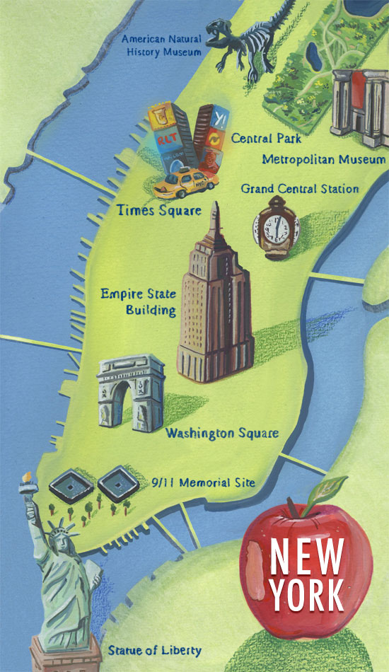 Haydn Symons Illustration New york city map – Tourist Attractions Map In New York City