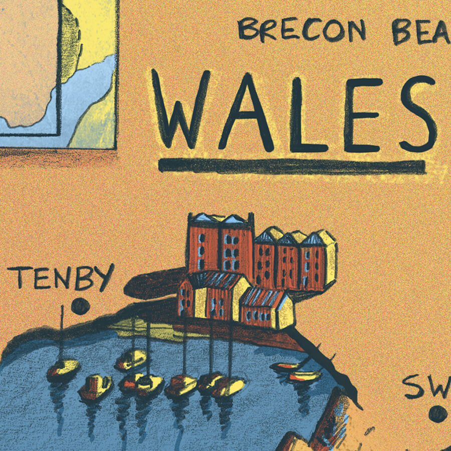 Wales Map Illustration