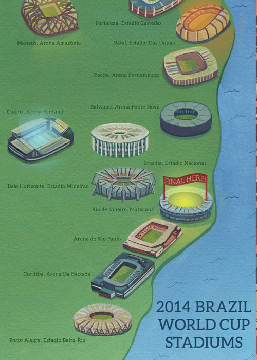 Buy the Brazil World Cup Stadiums 2014 Map item