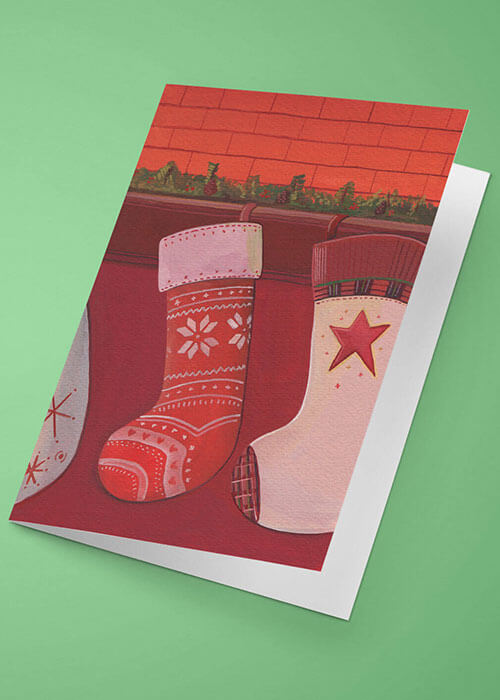 Buy the Christmas Stockings Greetings Card item