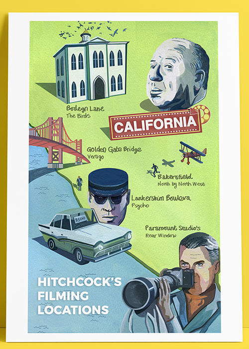 Buy the Hitchcock's Filming Locations Art Print item