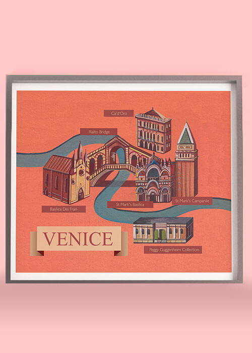 Buy the Illustrated Map Of Venice item